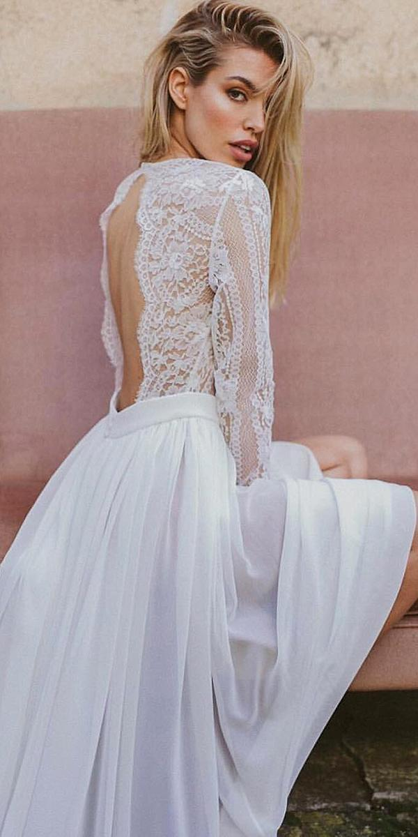 lace back wedding dresses open with long sleeves immacle novias