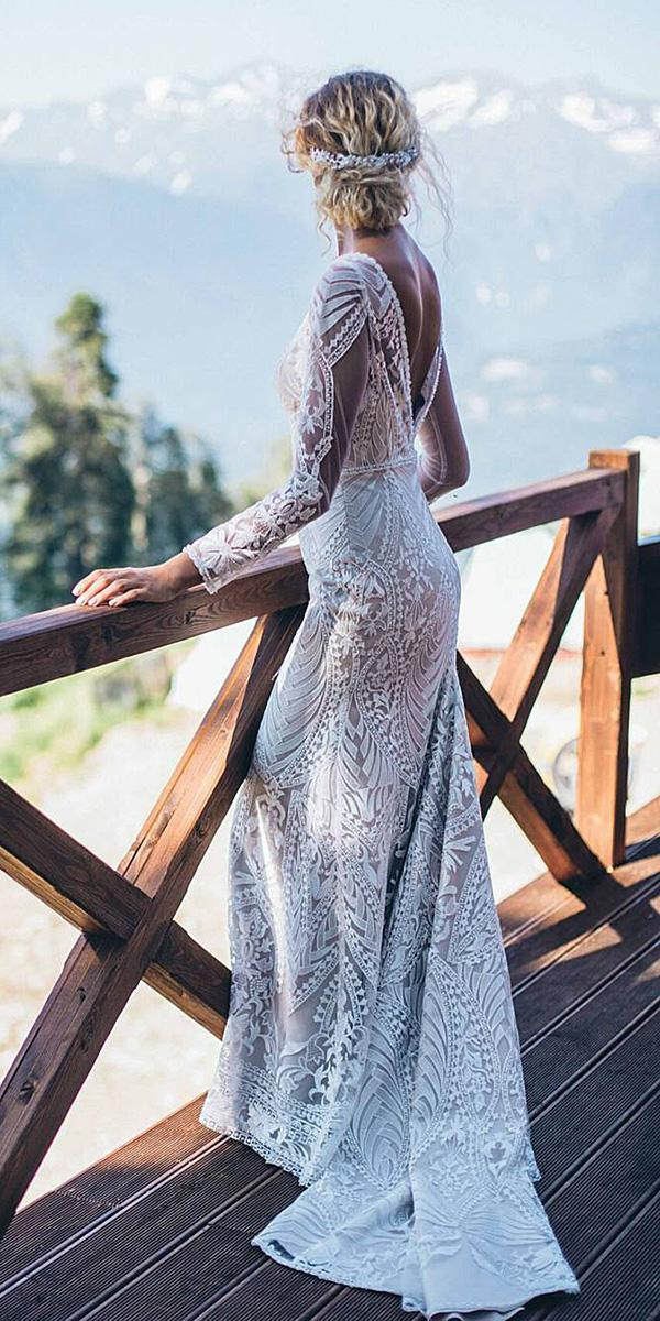 lace back wedding dresses sheath with long sleeves vintage kate kondratieva