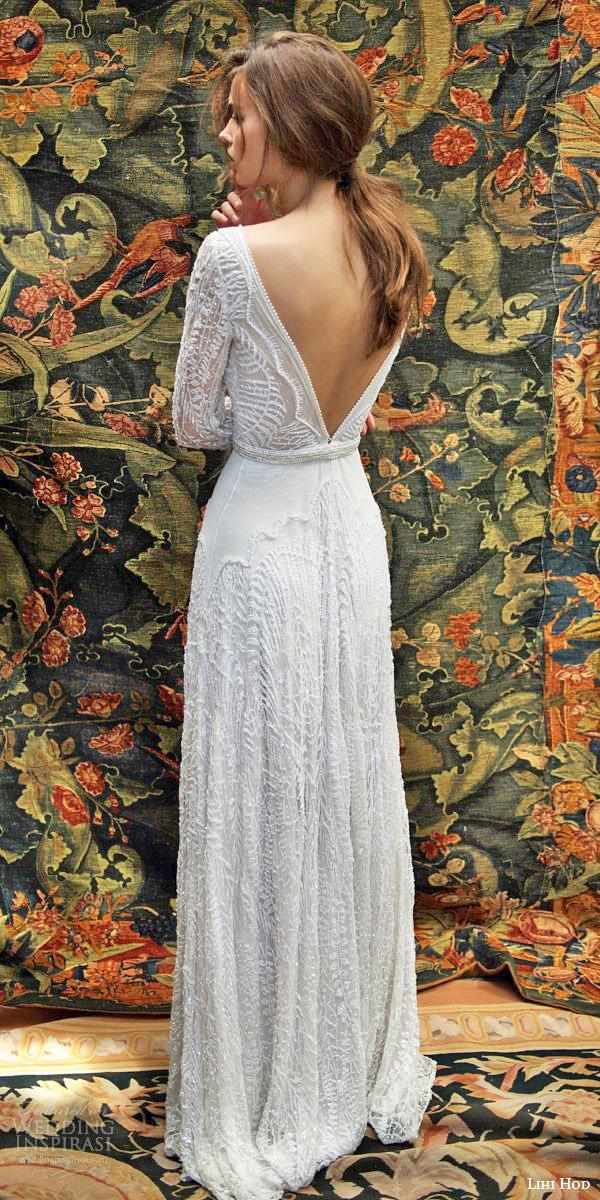 lace back wedding dresses sheath with sleeves vintage floral embellishment lihi hod