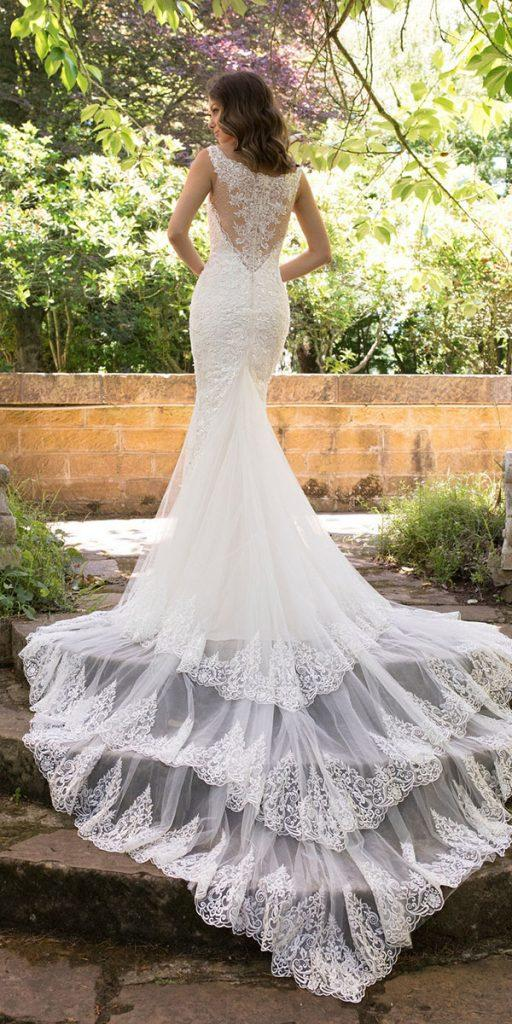 lace back wedding dresses trumpet with train sophia toli