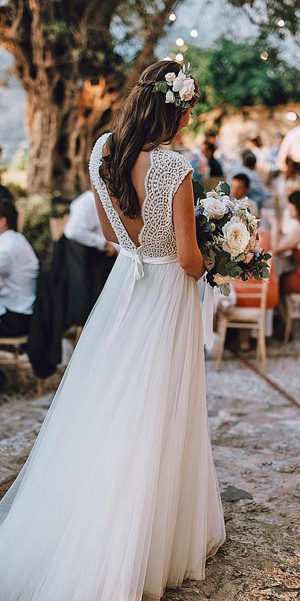 lace back wedding dresses with cap slleeves lace top tali photography