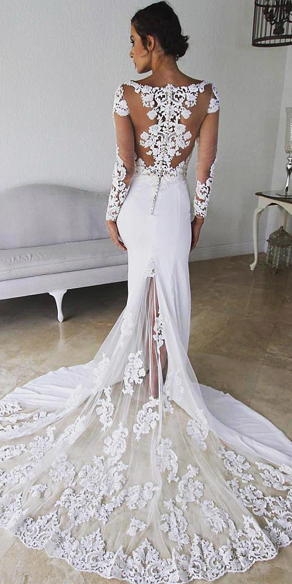lace back wedding dresses with illusion sleeves tatto effect kitty chen couture