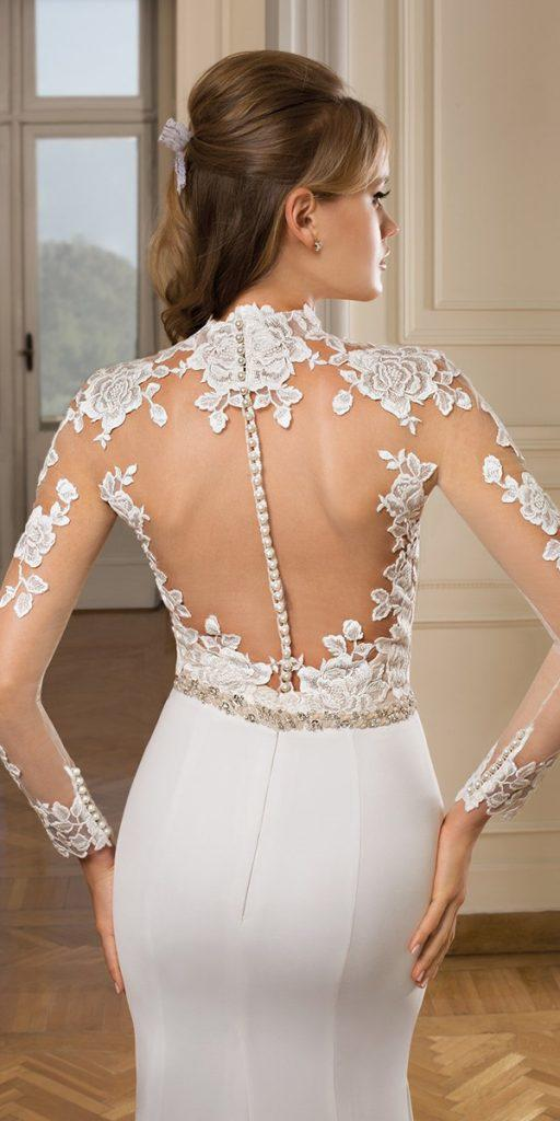 lace back wedding dresses with long sleeves illusion tattoo effect with buttons cosmobella milano