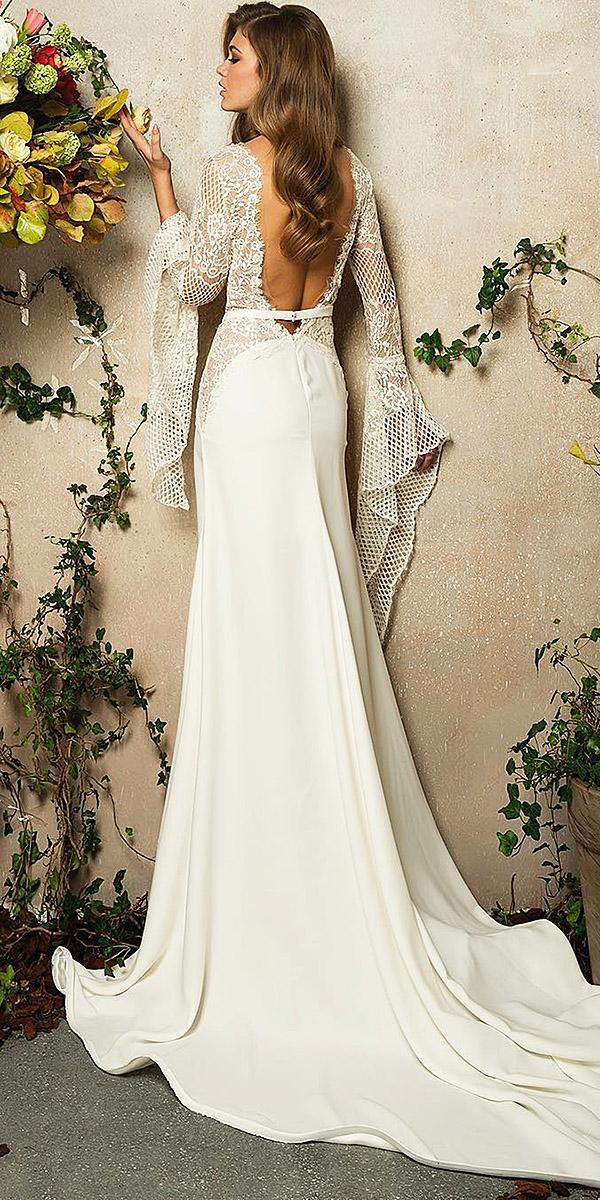 lace back wedding dresses with long sleeves satin skirt mina karan official