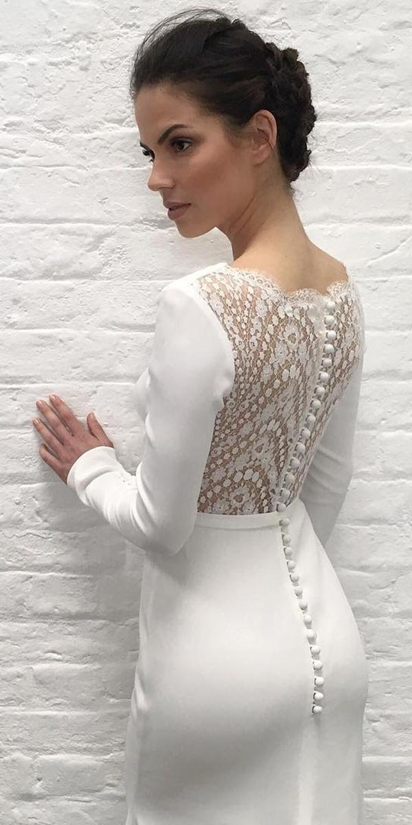 lace back wedding dresses with long sleeves with buttons suzanne neville