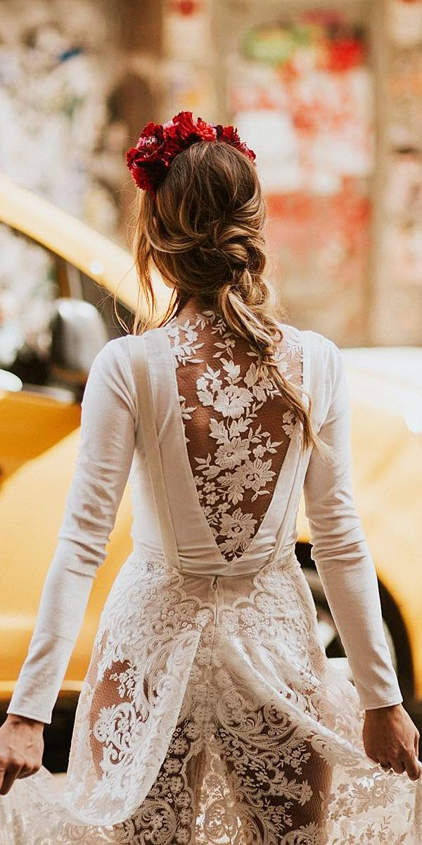 lace back wedding dresses with sleeves floral details silvia sanchez fotografias