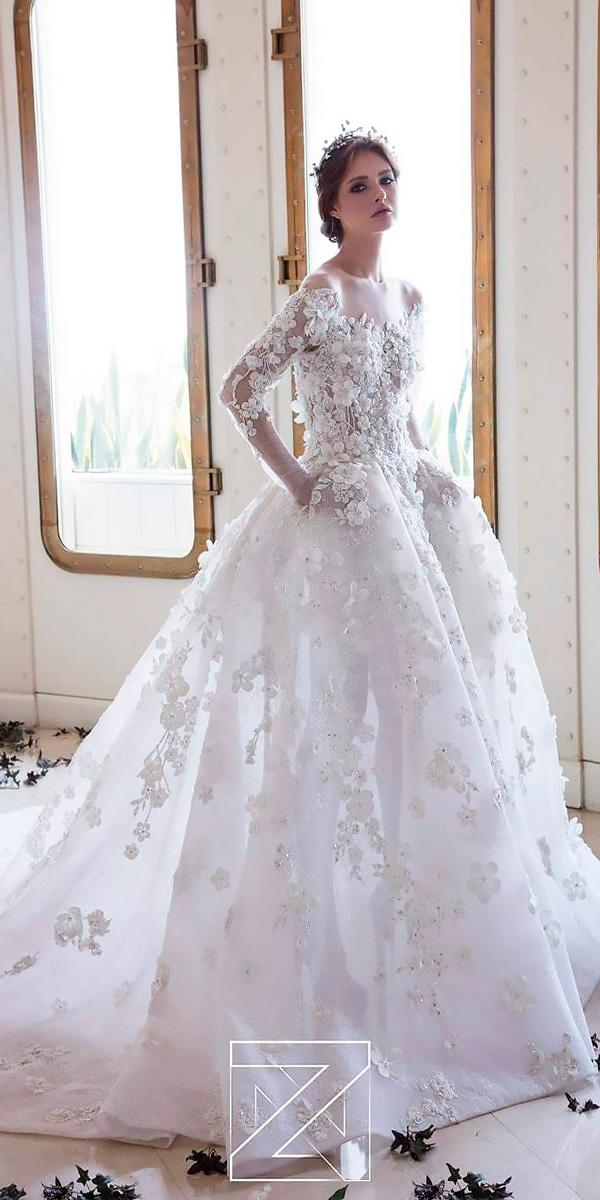 lace ball gown floral high neck long sleeves princess wedding dresses ziad nakad