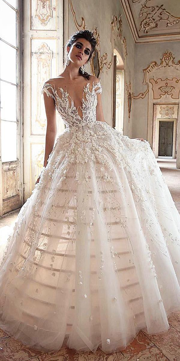 lace ball gown wedding dresses with cap sleves illusion neckline jaton couture