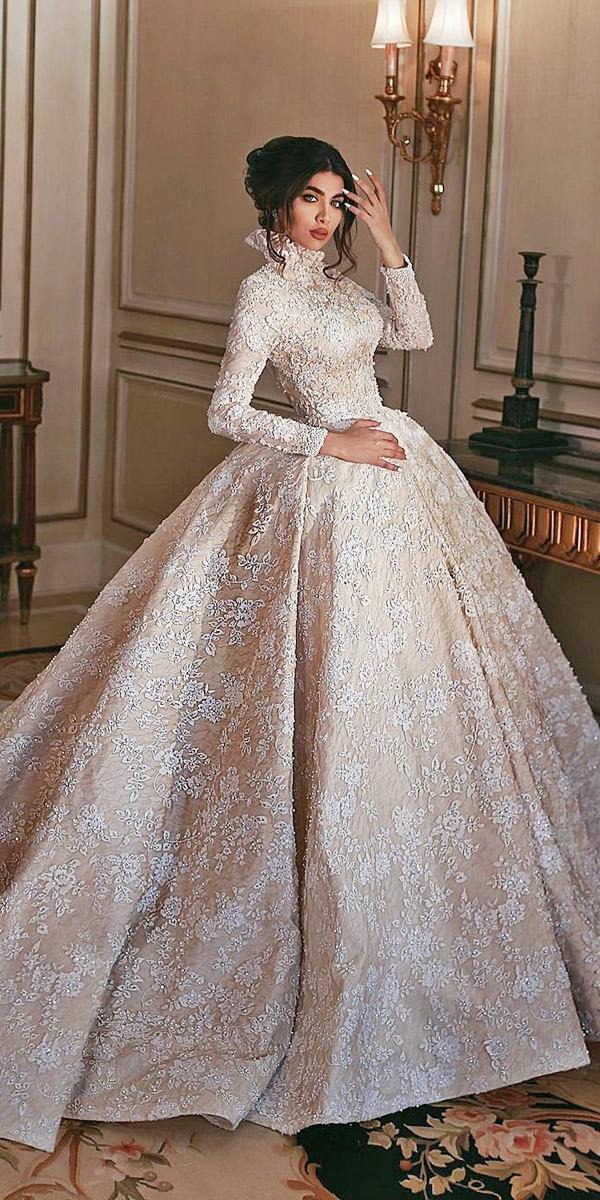 lace ball gown wedding dresses with long sleeves high neck blush sadek majed couture