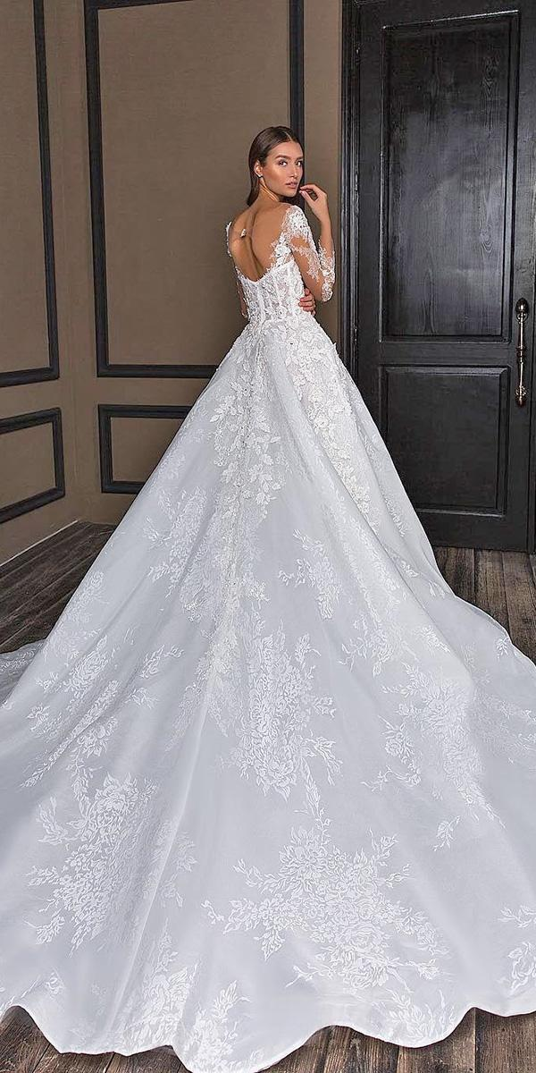 lace ball gown wedding dresses low back with long sleeves crystal design