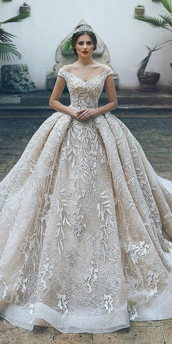 lace ball gown wedding dresses off the shoulder floral champagne said mhamad photography