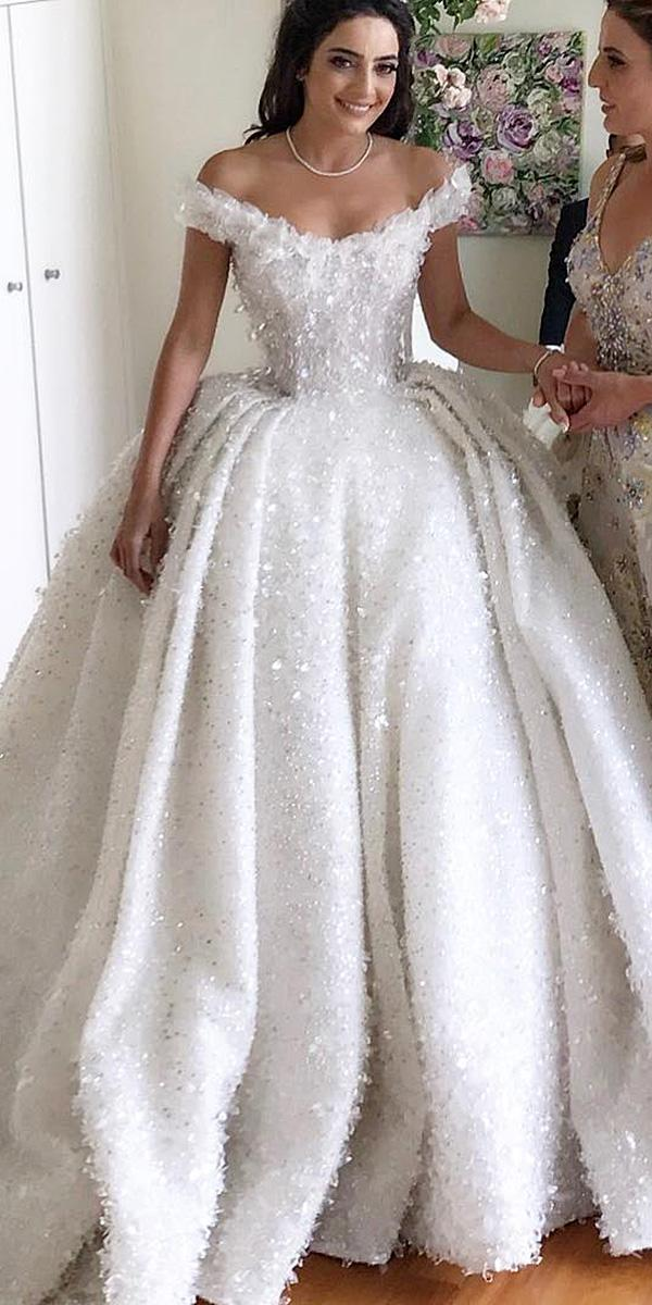 lace ball gown wedding dresses off the shoulder floral steven khalil