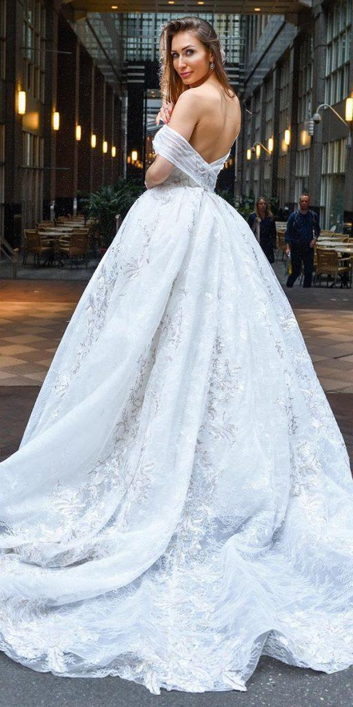 lace ball gown wedding dresses off the shoulder low back marcela decala