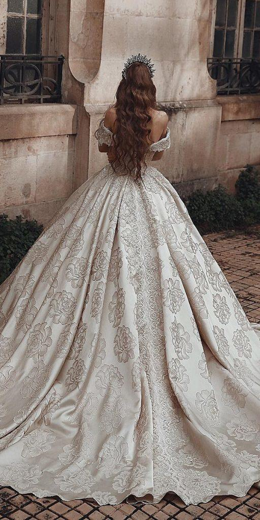 lace ball gown wedding dresses off the shoulder luxury ivory saidmhamadofficial