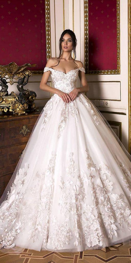 lace ball gown wedding dresses off the shoulder sweetheart neckline floral appliques oksana mukha