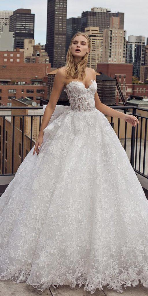 lace ball gown wedding dresses sweetheart strapless neckline pninatornai
