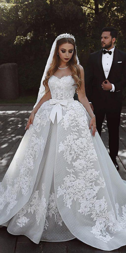 lace ball gown wedding dresses sweetheart strapless with bow said mhamad