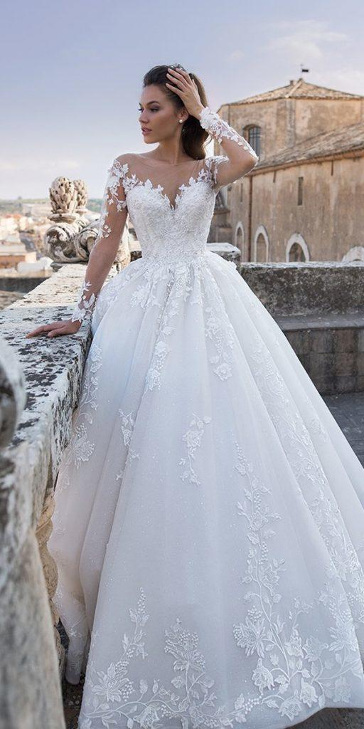 lace ball gown wedding dresses with illusion long sleeves sweetheart neckline lussanobridal
