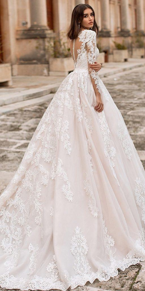 lace ball gown wedding dresses with illusion long sleeves tattoo effect back navibluebridal