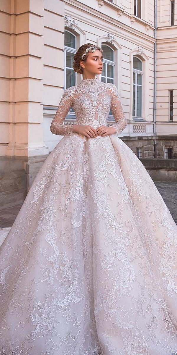 lace ball gown wedding dresses with long sleeves neck milla nova