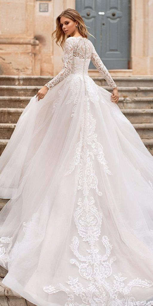 lace ball gown wedding dresses with long sleeves lace with train naviblue bridal