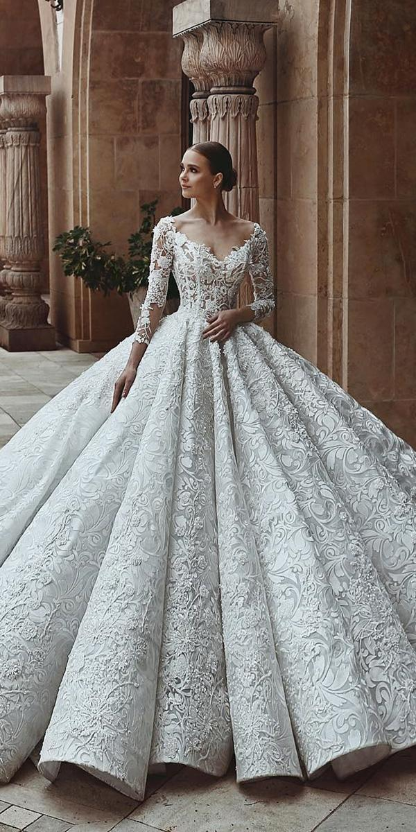 lace ball gown wedding dresses with long sleeves sweetheart said mhamad photography