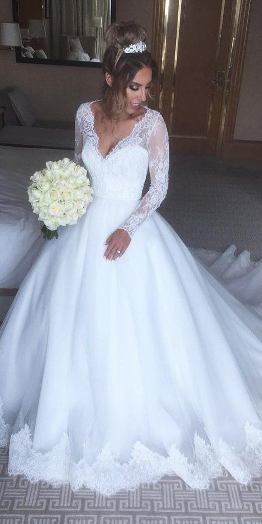 lace ball gown wedding dresses with long sleeves v neckline alin leka