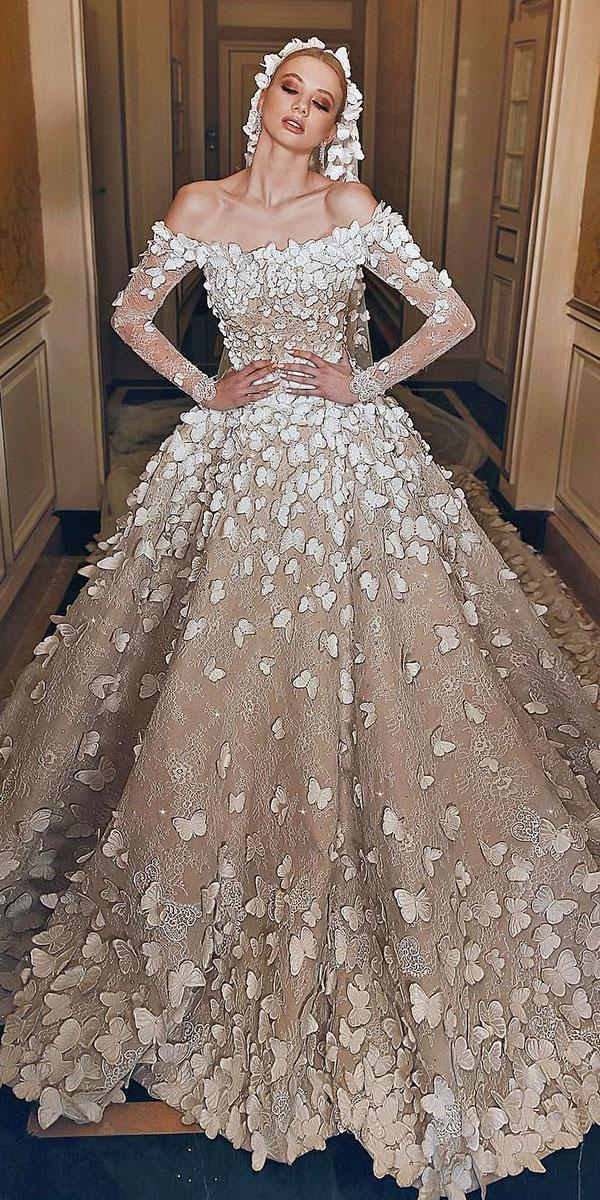 lace ball gownwedding dresses with sleeeves off the shoulder 3d floral champagne sadek majed couture