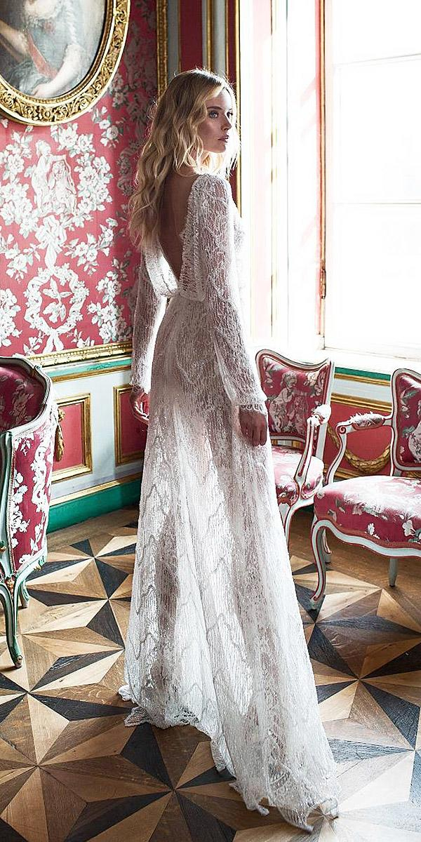 lace beach wedding dresses low back flowly with long sleeves lace embellishment lian rokman
