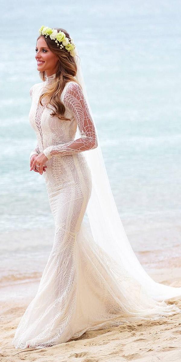 lace beach wedding dresses mermaid high neck with sleeves embellishment galia lahav