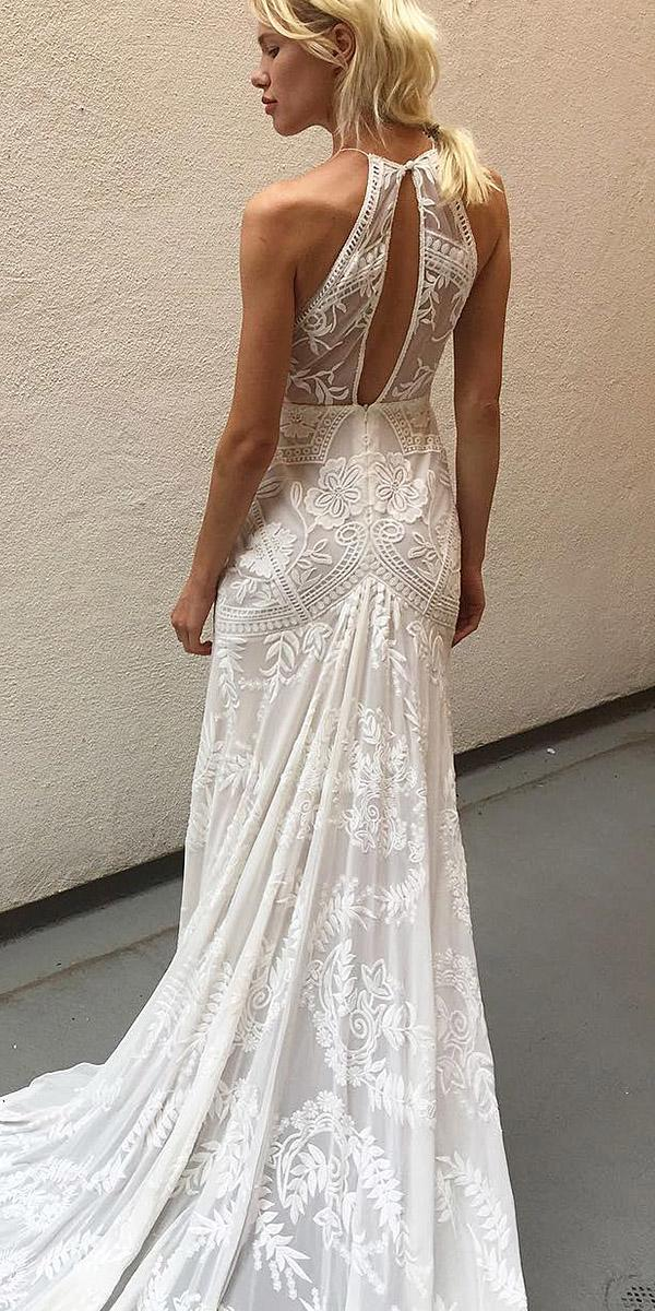 lace beach wedding dresses open back sleeveless floral embellishment rue de seine bridal