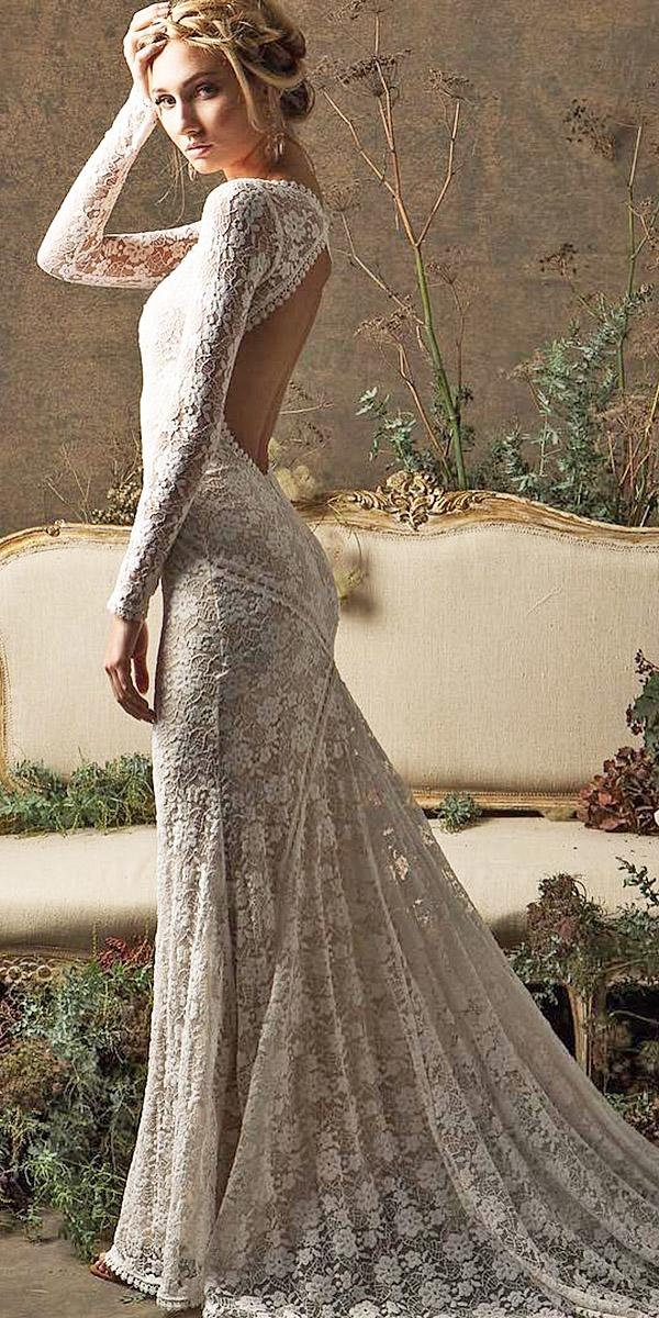 lace beach wedding dresses open back with long sleeves with train dreamers and lovers