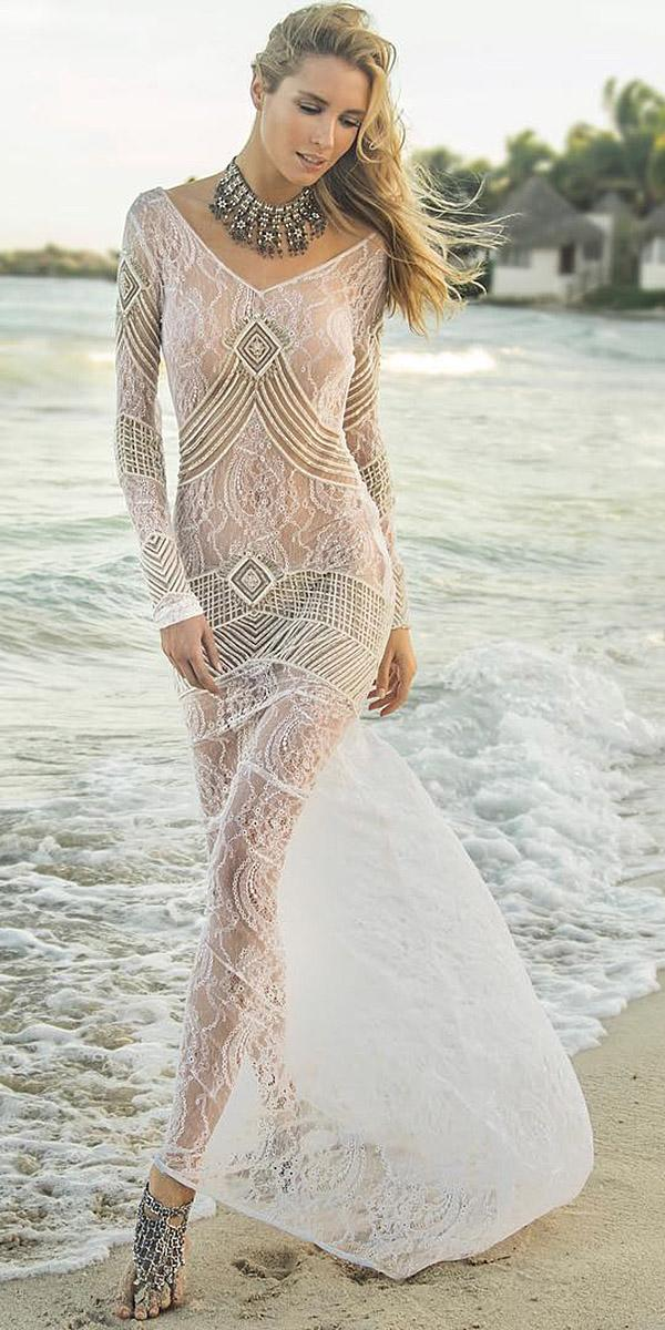 lace beach wedding dresses sheath nude with long sleeves boho island tribe