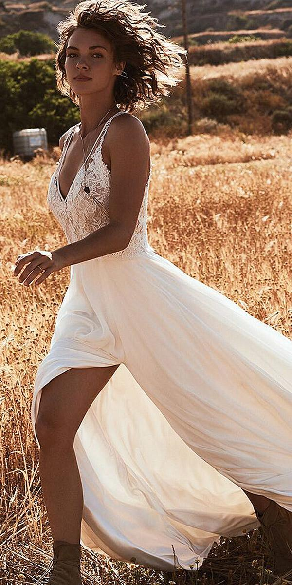 lace beach wedding dresses sheath with spaghetti straps satin skirt flowly lillian west