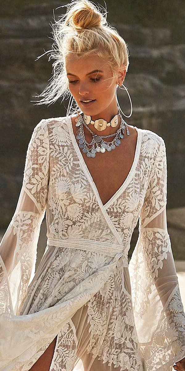 lace beach wedding dresses v neck with sleeves floral embellishment flowly rue de seine