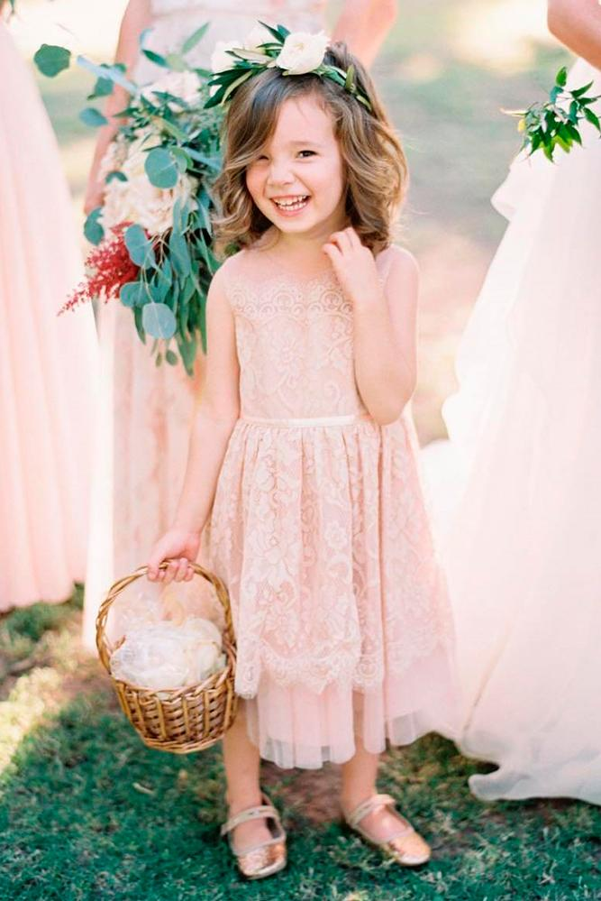 Lace Flower Girl Dresses Blush Sleeveless Mid Length