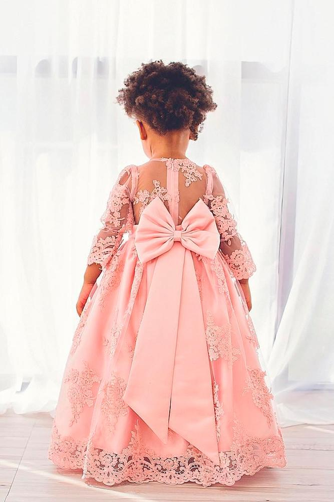 lace flower girl dresses pink with long sleeves back bow ittybittytoes1