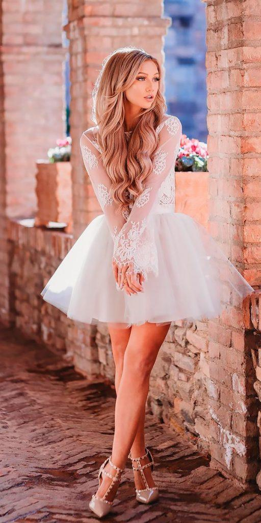 lace short wedding dresses beach long sleeves with gathered skirt bliss tulle