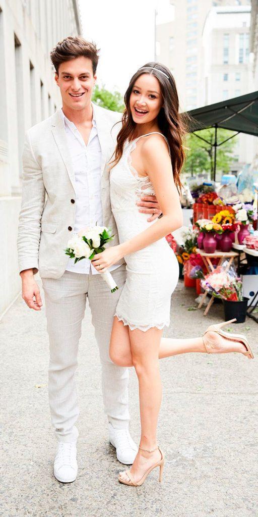 lace short wedding dresses boho spaghetti straps lauren perlstein