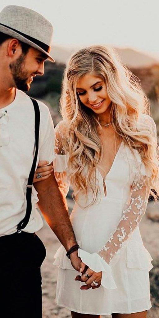 lace short wedding dresses boho v neckline long sleeves kayfish photo