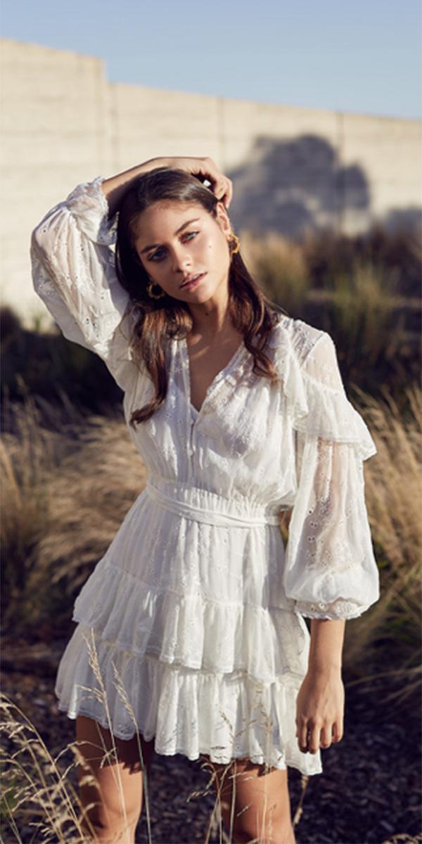 lace short wedding dresses boho with long sleeves zimmermann