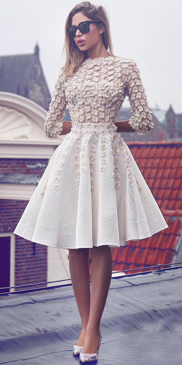 lace short wedding dresses dloral appliques with sleeves sadek majed couture