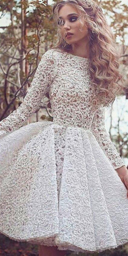 lace short wedding dresses long sleeves with ruffled skirt sadekmajedcouture