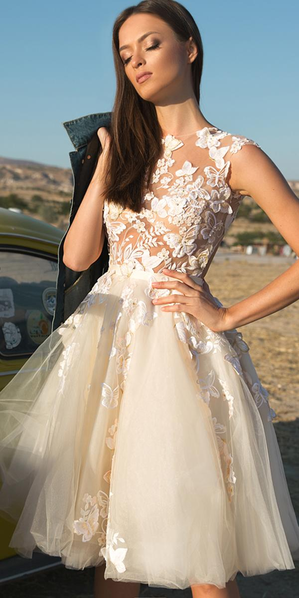 lace short wedding dresses short floral nude beach angelica