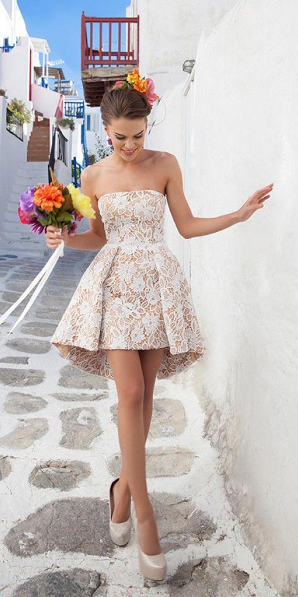 lace short wedding dresses straight across blush lace embellishment tarik ediz