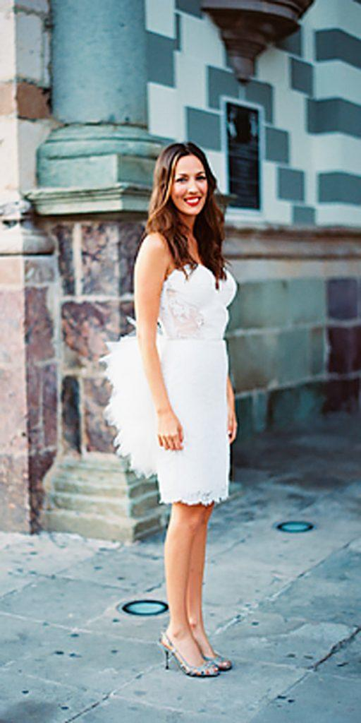 lace short wedding dresses strapless sweetheart eric kelley