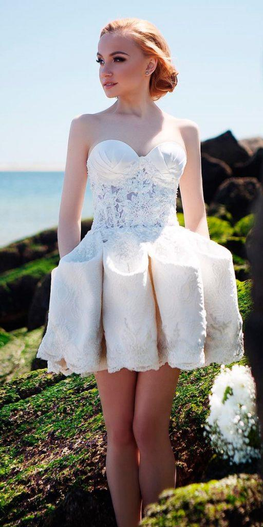 lace short wedding dresses strapless sweetheart neckline beach anastasia couture nyc