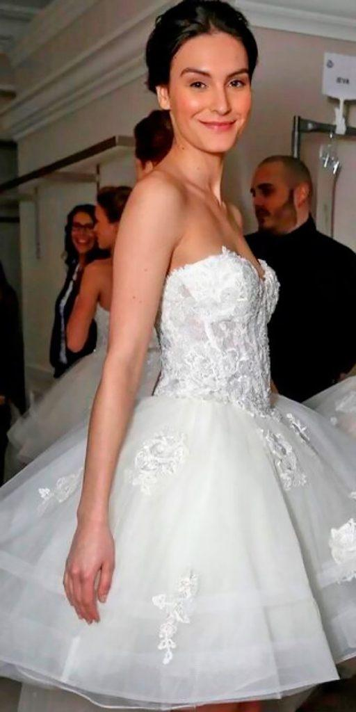 lace short wedding dresses strapless sweetheart neckline randy fenoli