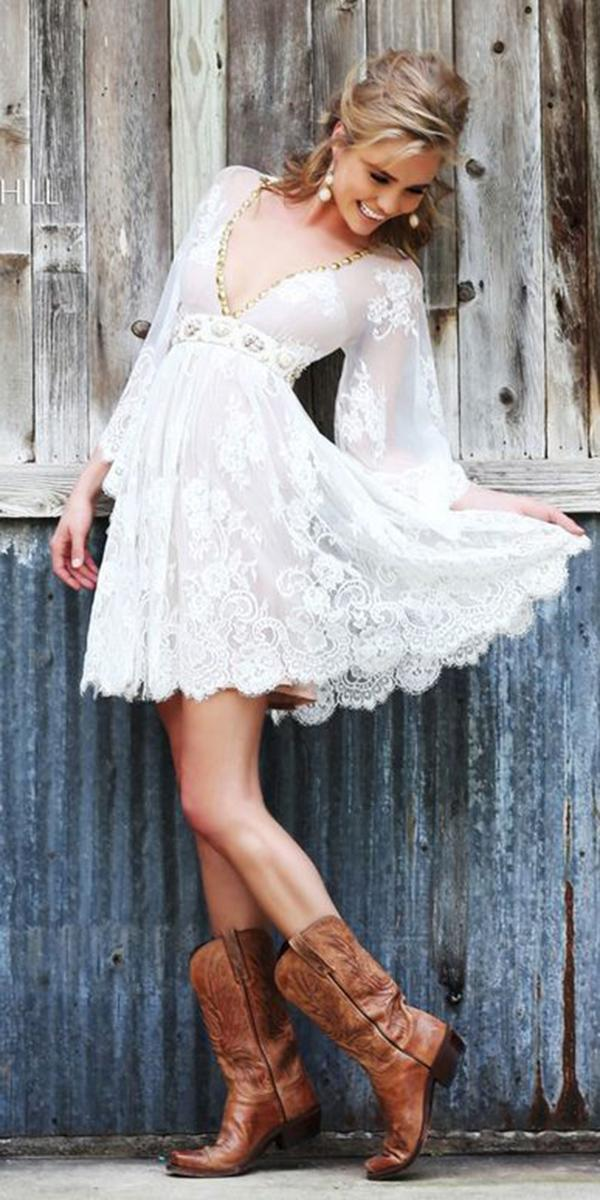 Lace Short Wedding Dresses V Neckline With Blowing Sleeves Boots Sherri Hill