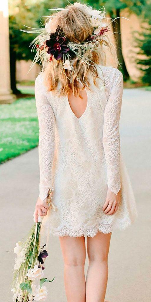 lace short wedding dresses vintage with long sleeves wear your love